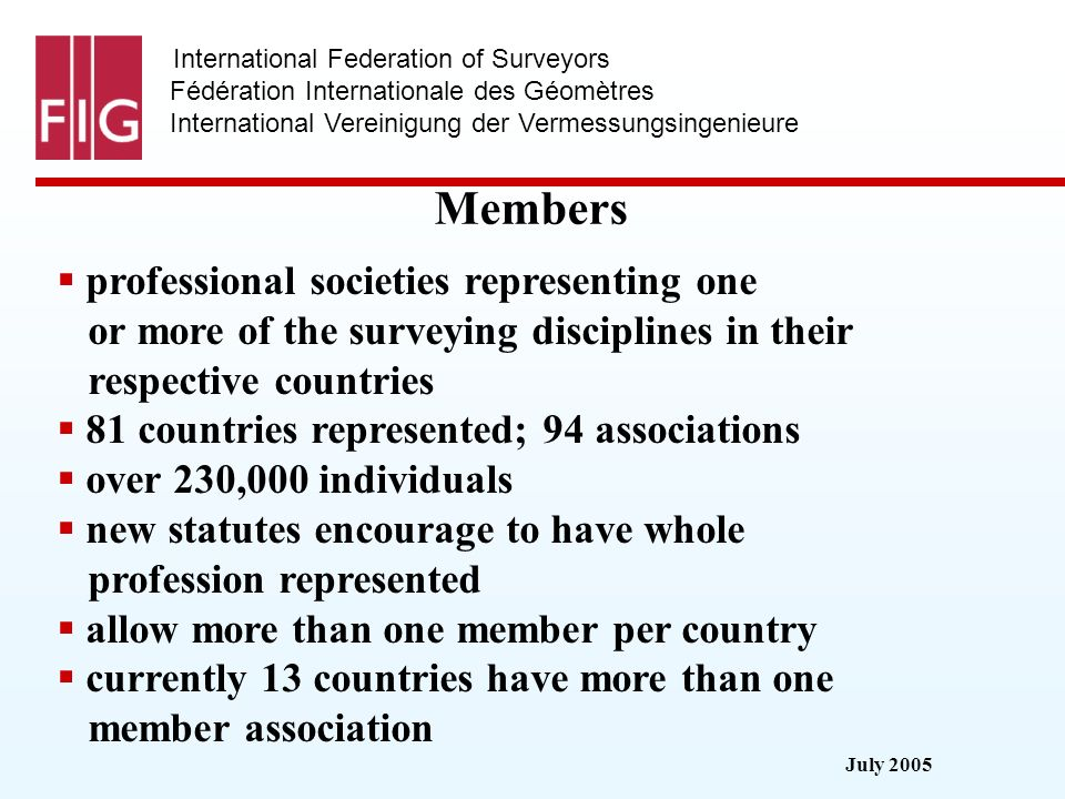 July 2005 International Federation of Surveyors Fédération Internationale des Géomètres International Vereinigung der Vermessungsingenieure Members professional societies representing one or more of the surveying disciplines in their respective countries 81 countries represented; 94 associations over 230,000 individuals new statutes encourage to have whole profession represented allow more than one member per country currently 13 countries have more than one member association
