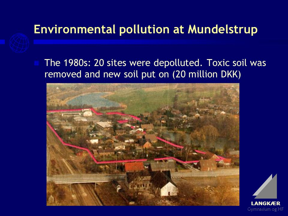 LANGKÆR Gymnasium og HF Environmental pollution at Mundelstrup The 1980s: 20 sites were depolluted. Toxic soil was removed and new soil put on (20 mil