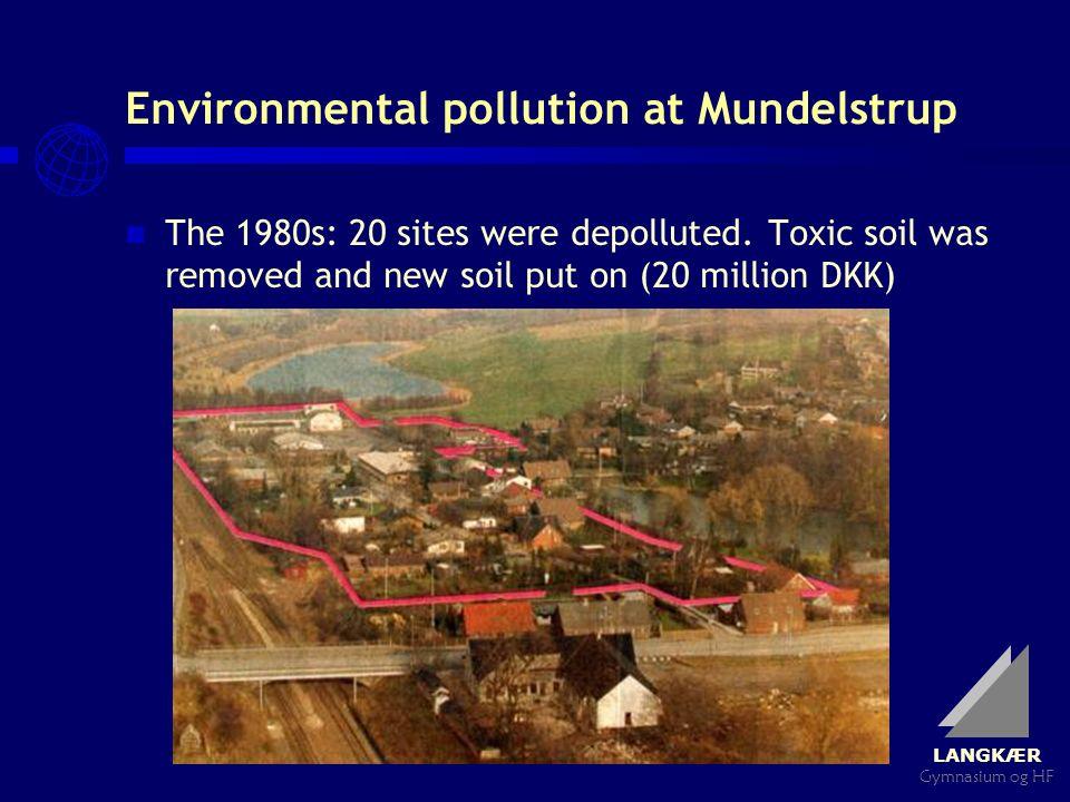 LANGKÆR Gymnasium og HF Environmental pollution at Mundelstrup The 1980s: 20 sites were depolluted.
