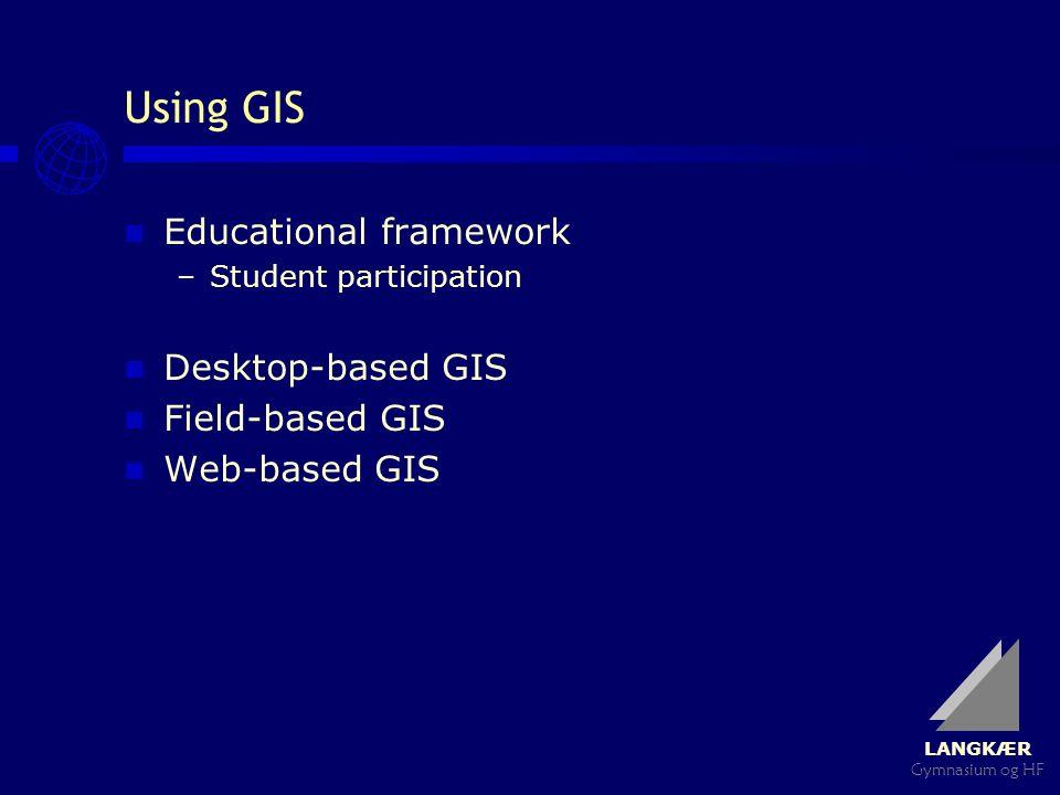 LANGKÆR Gymnasium og HF Using GIS Educational framework –Student participation Desktop-based GIS Field-based GIS Web-based GIS