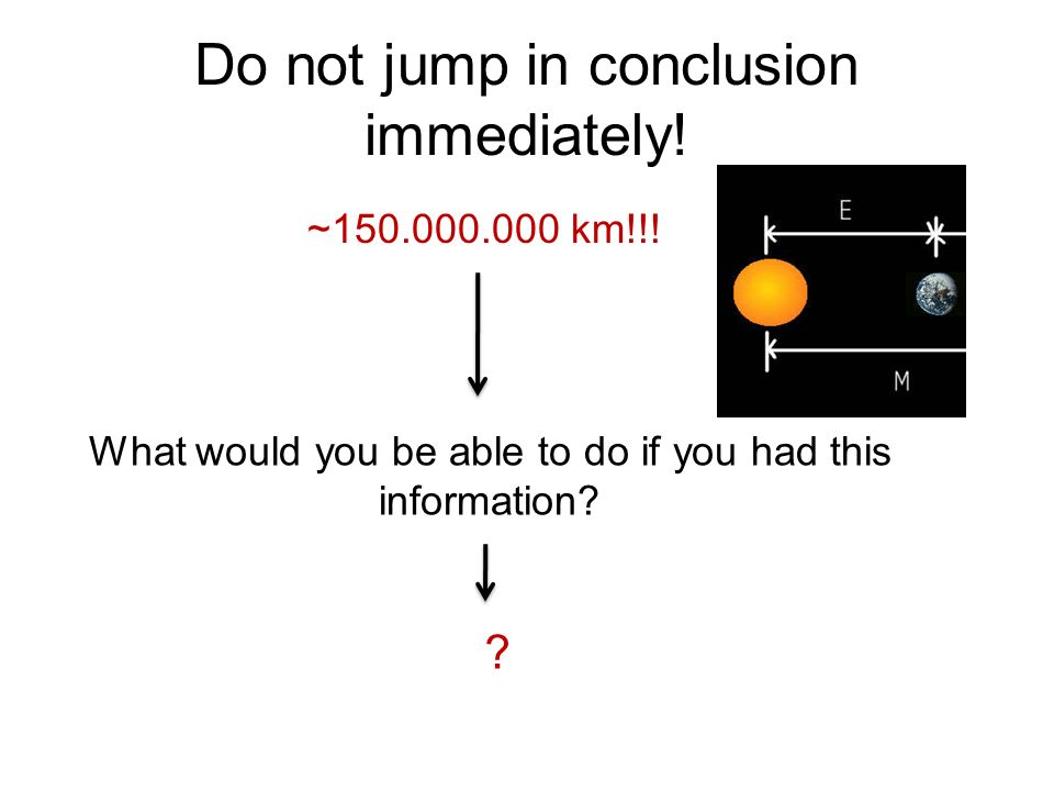 Do not jump in conclusion immediately! ~150.000.000 km!!! What would you be able to do if you had this information? ?