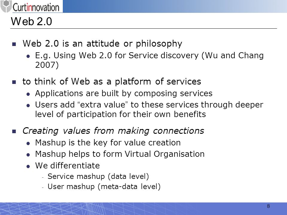 19 User Mashup (see Figure 3) in the context of GSP refers to an activity in which the user can hack standard Service Space communication protocols, and hence extensively customises user interface or features based on his own preferences User Mashup provides a powerful yet simple mechanism by which infinite virtual syndications of Service Spaces can be created for each SSP.