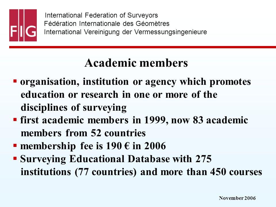 November 2006 International Federation of Surveyors Fédération Internationale des Géomètres International Vereinigung der Vermessungsingenieure Academ