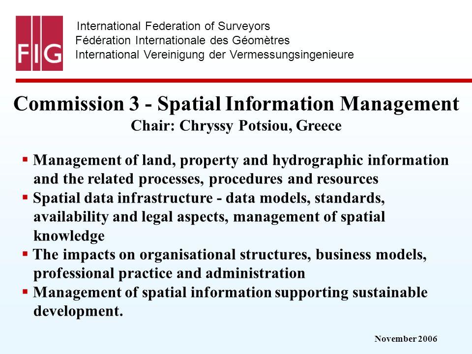 November 2006 International Federation of Surveyors Fédération Internationale des Géomètres International Vereinigung der Vermessungsingenieure Commis