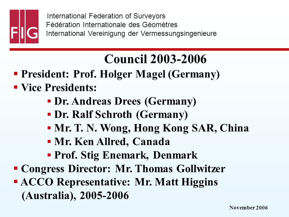 November 2006 International Federation of Surveyors Fédération Internationale des Géomètres International Vereinigung der Vermessungsingenieure Council 2003-2006 President: Prof.