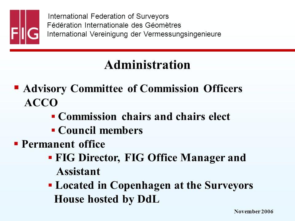 November 2006 International Federation of Surveyors Fédération Internationale des Géomètres International Vereinigung der Vermessungsingenieure Admini