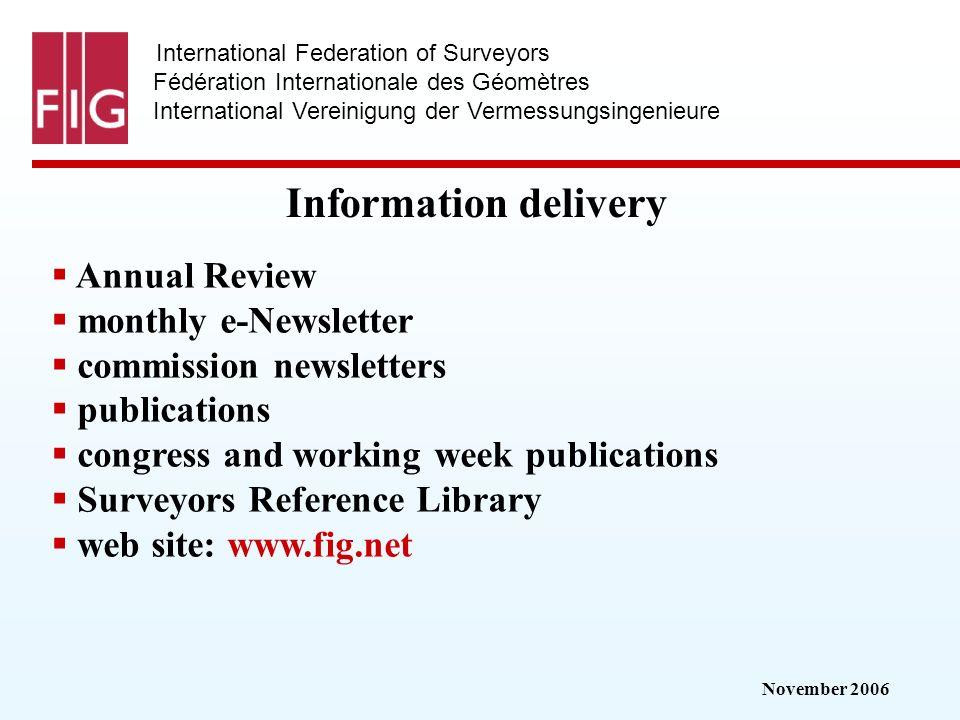 November 2006 International Federation of Surveyors Fédération Internationale des Géomètres International Vereinigung der Vermessungsingenieure Inform