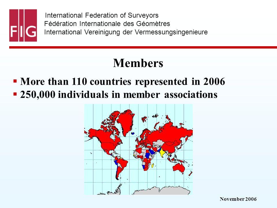 November 2006 International Federation of Surveyors Fédération Internationale des Géomètres International Vereinigung der Vermessungsingenieure Members More than 110 countries represented in 2006 250,000 individuals in member associations