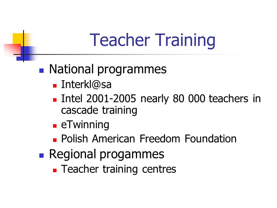 Teacher Training National programmes Intel nearly teachers in cascade training eTwinning Polish American Freedom Foundation Regional progammes Teacher training centres