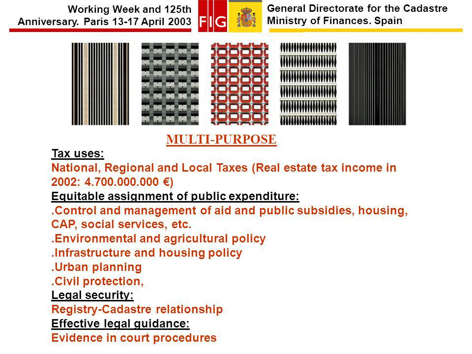 General Directorate for the Cadastre Ministry of Finances. Spain Working Week and 125th Anniversary. Paris 13-17 April 2003 MULTI-PURPOSE Tax uses: Na