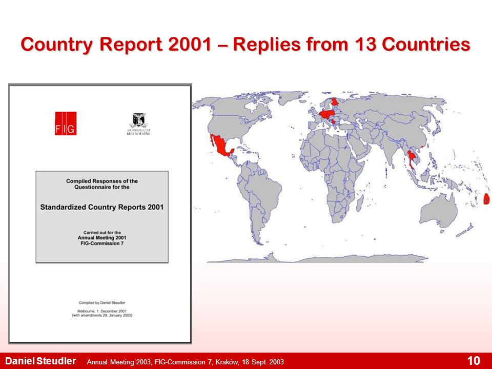 Annual Meeting 2003, FIG-Commission 7, Kraków, 18 Sept. 2003 Daniel Steudler 10 Country Report 2001 – Replies from 13 Countries