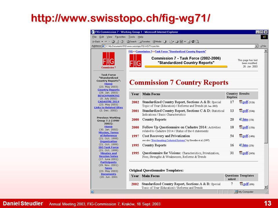 Annual Meeting 2003, FIG-Commission 7, Kraków, 18 Sept. 2003 Daniel Steudler 13 http://www.swisstopo.ch/fig-wg71/