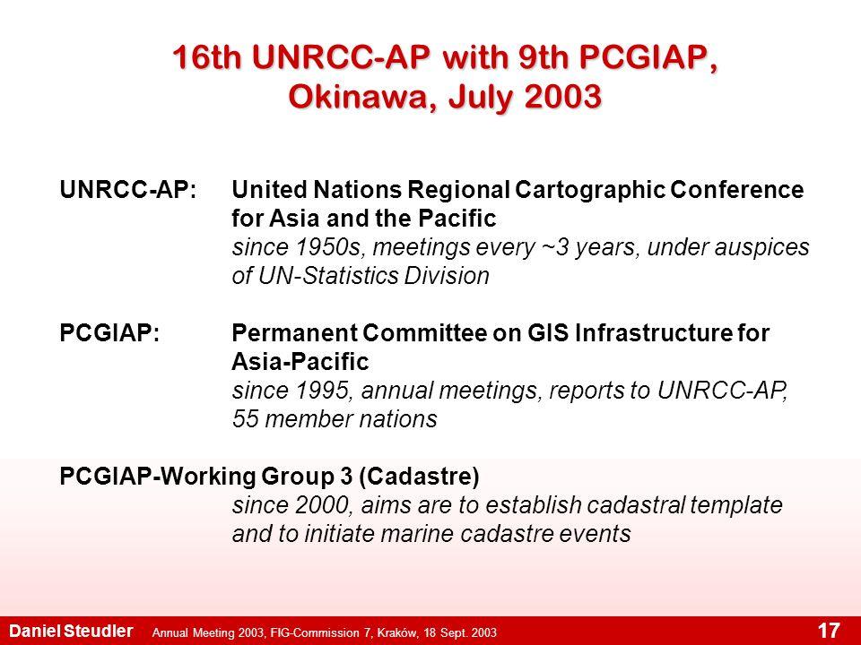 Annual Meeting 2003, FIG-Commission 7, Kraków, 18 Sept. 2003 Daniel Steudler 17 16th UNRCC-AP with 9th PCGIAP, Okinawa, July 2003 UNRCC-AP:United Nati