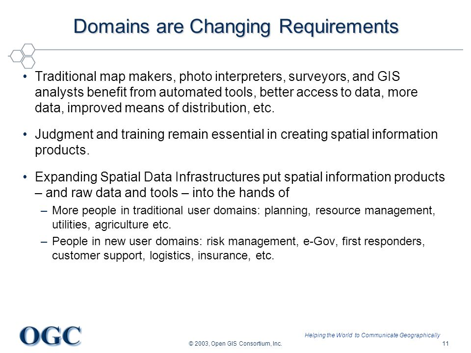 Helping the World to Communicate Geographically © 2003, Open GIS Consortium, Inc.11 Domains are Changing Requirements Traditional map makers, photo in