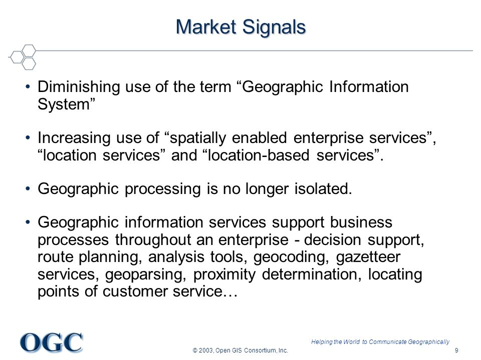 Helping the World to Communicate Geographically © 2003, Open GIS Consortium, Inc.9 Market Signals Diminishing use of the term Geographic Information S
