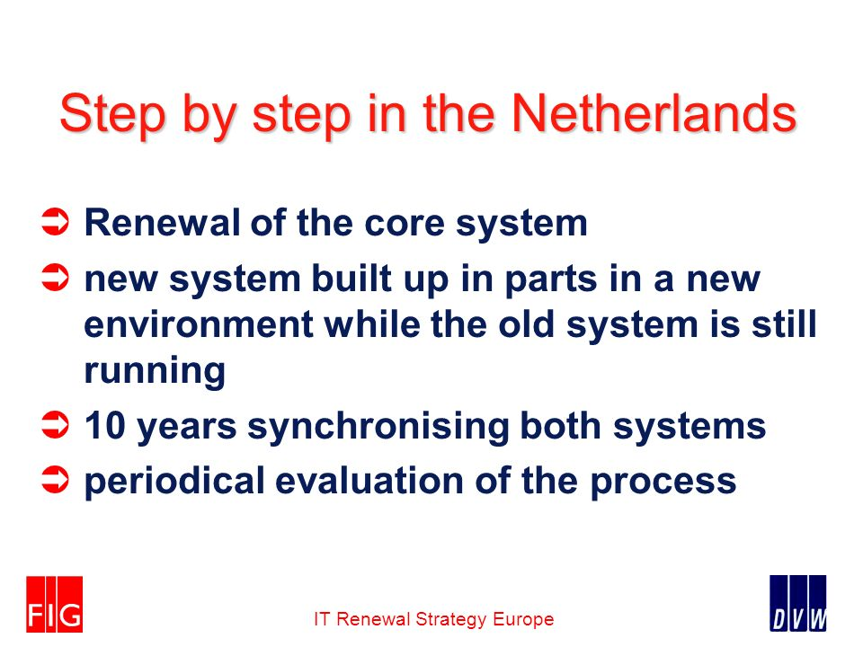 IT Renewal Strategy Europe Step by step in the Netherlands Renewal of the core system new system built up in parts in a new environment while the old system is still running 10 years synchronising both systems periodical evaluation of the process