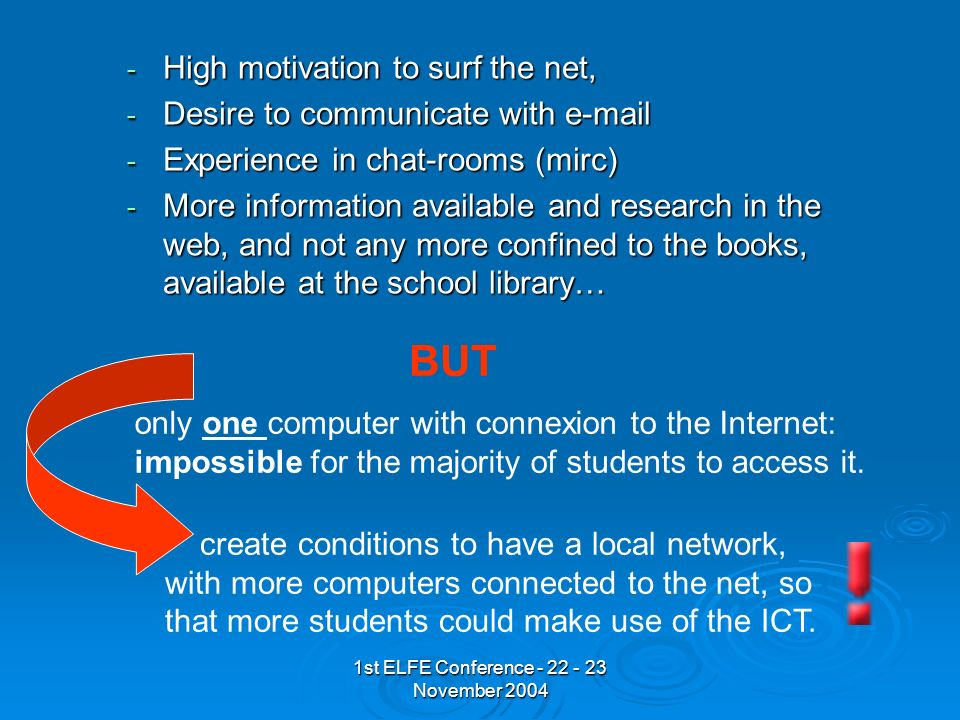 1st ELFE Conference - 22 - 23 November 2004 - High motivation to surf the net, - Desire to communicate with e-mail - Experience in chat-rooms (mirc) - More information available and research in the web, and not any more confined to the books, available at the school library… BUT only one computer with connexion to the Internet: impossible for the majority of students to access it.