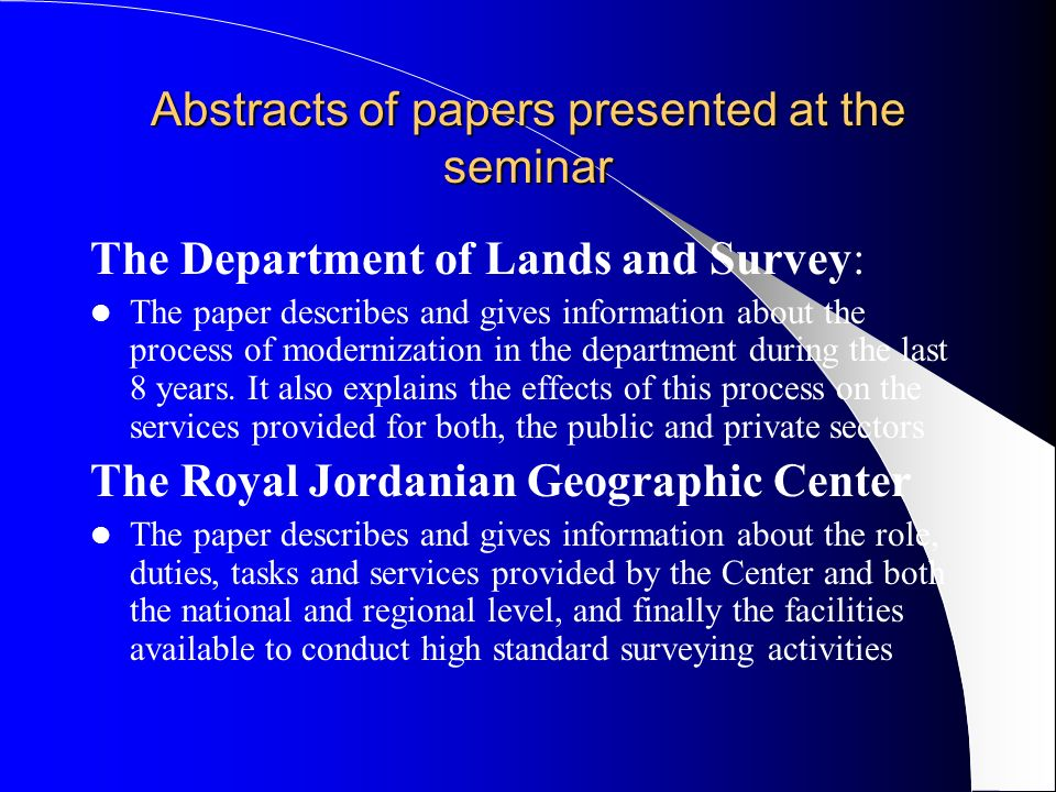 Abstracts of papers presented at the seminar The Department of Lands and Survey: The paper describes and gives information about the process of modernization in the department during the last 8 years.