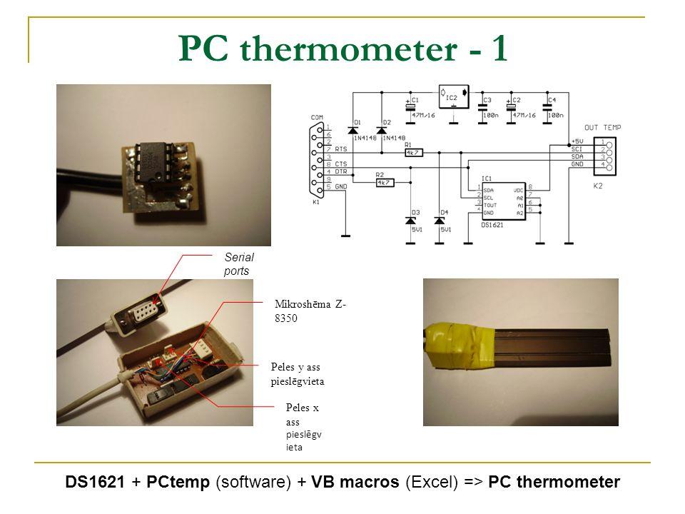 PC thermometer - 1 Serial ports Mikroshēma Z- 8350 Peles y ass pieslēgvieta Peles x ass pieslēgv ieta DS1621 + PCtemp (software) + VB macros (Excel) =