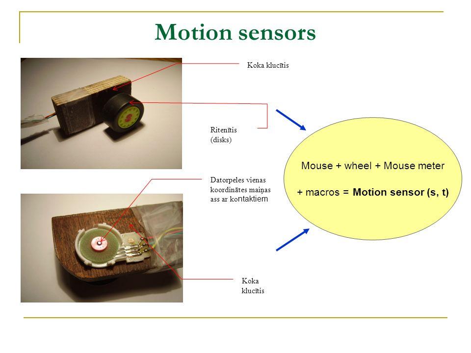 Motion sensors Koka klucītis Ritenītis (disks) Datorpeles vienas koordinātes maiņas ass ar ko ntaktiem Koka klucītis Mouse + wheel + Mouse meter + mac