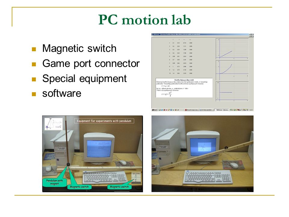 PC motion lab Magnetic switch Game port connector Special equipment software