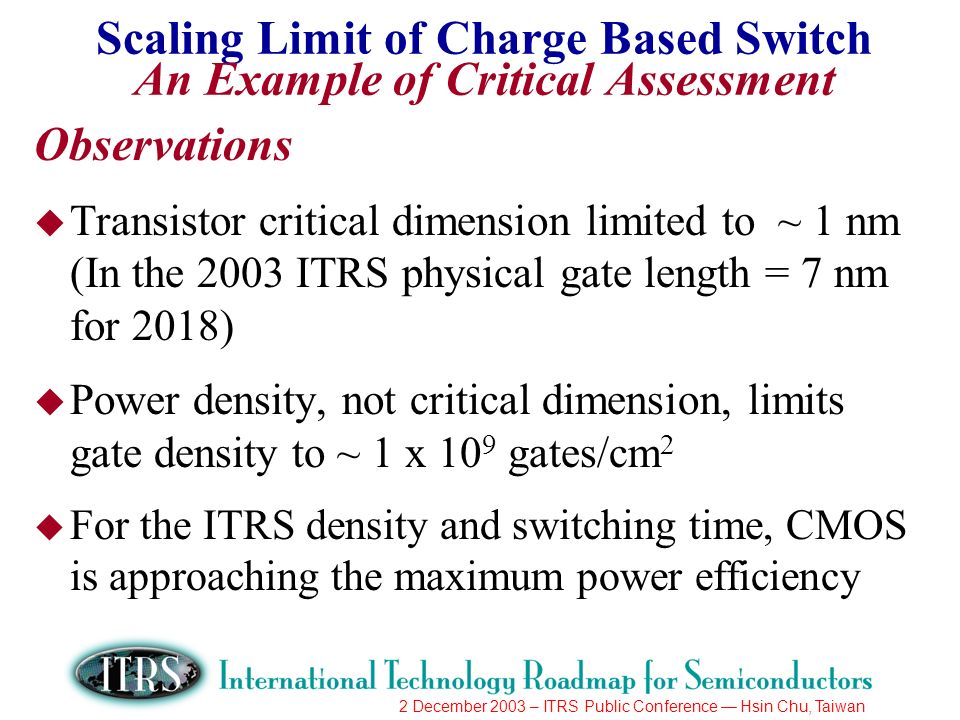 2 December 2003 – ITRS Public Conference Hsin Chu, Taiwan Scaling Limit of Charge Based Switch An Example of Critical Assessment Observations u Transistor critical dimension limited to ~ 1 nm (In the 2003 ITRS physical gate length = 7 nm for 2018) u Power density, not critical dimension, limits gate density to ~ 1 x 10 9 gates/cm 2 u For the ITRS density and switching time, CMOS is approaching the maximum power efficiency
