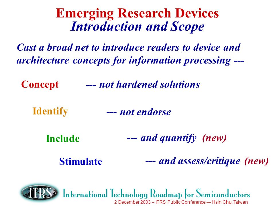 2 December 2003 – ITRS Public Conference Hsin Chu, Taiwan Emerging Research Devices Introduction and Scope Cast a broad net to introduce readers to device and architecture concepts for information processing --- Concept Identify Include Stimulate --- not hardened solutions --- not endorse --- and quantify (new) --- and assess/critique (new)