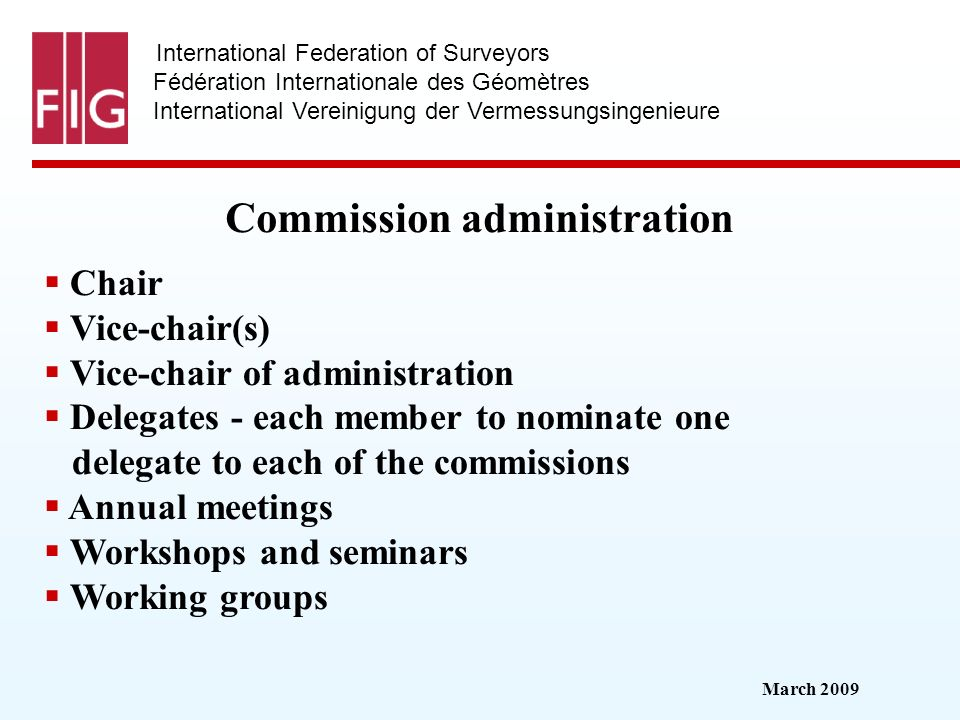 March 2009 International Federation of Surveyors Fédération Internationale des Géomètres International Vereinigung der Vermessungsingenieure Commissio