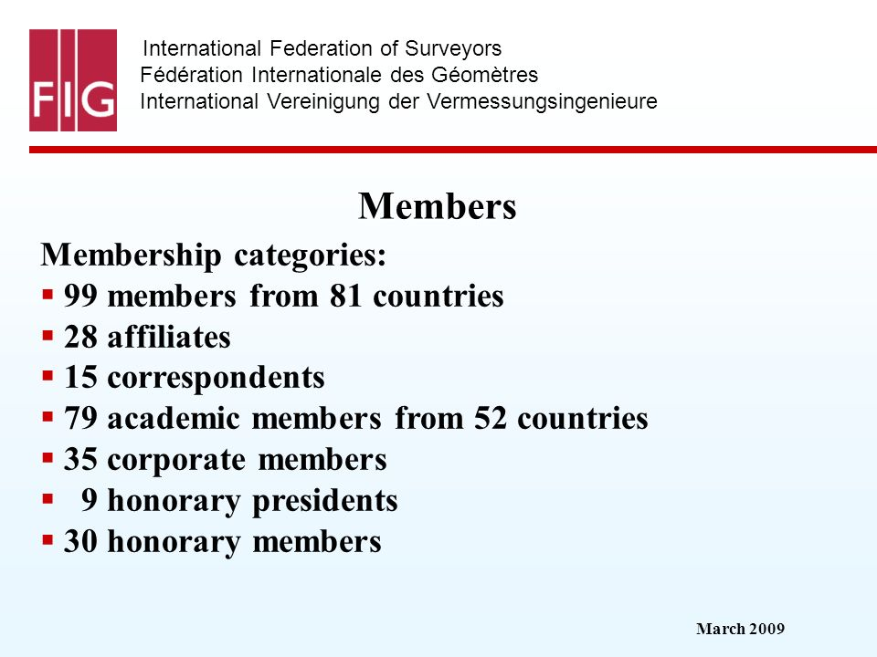 March 2009 International Federation of Surveyors Fédération Internationale des Géomètres International Vereinigung der Vermessungsingenieure Members M
