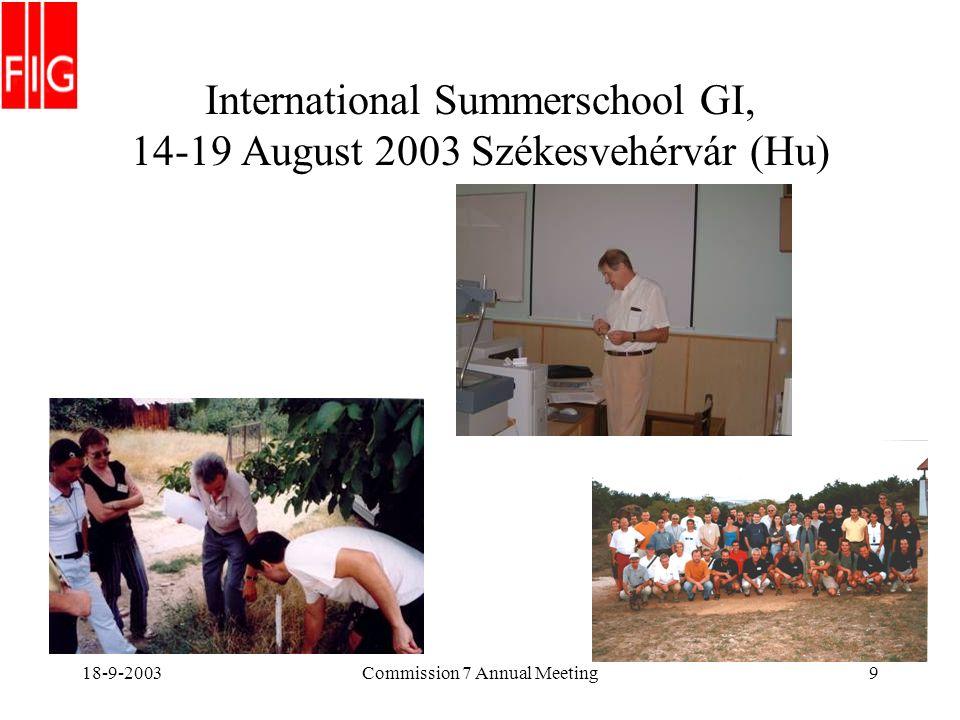 18-9-2003Commission 7 Annual Meeting9 International Summerschool GI, 14-19 August 2003 Székesvehérvár (Hu)