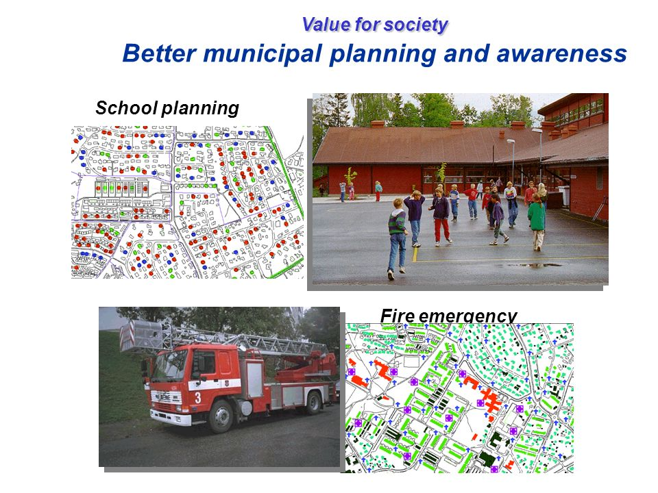 Value for society Value for society Better municipal planning and awareness School planning Fire emergency