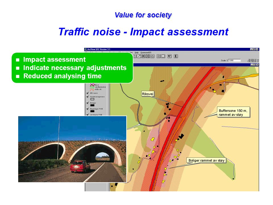 Value for society Traffic noise - Impact assessment n Impact assessment n Indicate necessary adjustments n Reduced analysing time