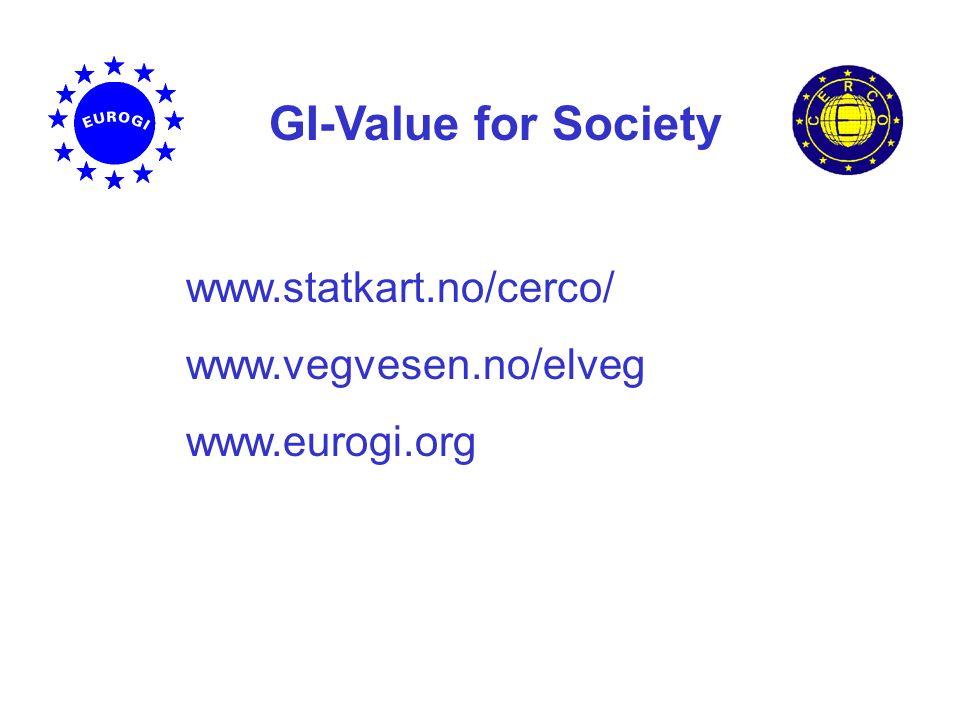 GI-Value for Society www.statkart.no/cerco/ www.vegvesen.no/elveg www.eurogi.org