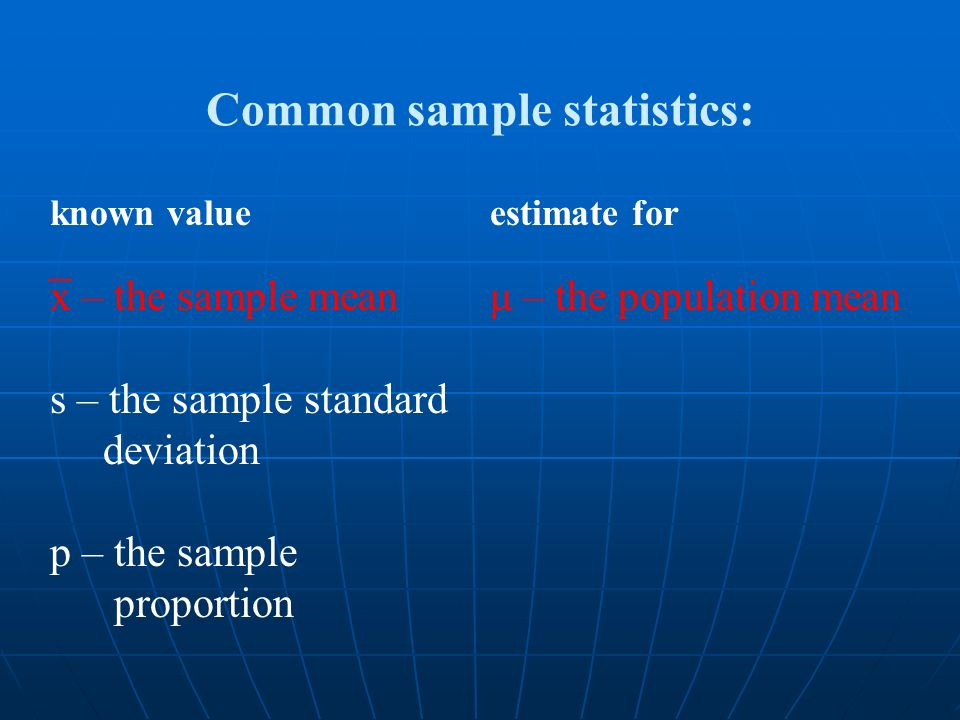 x – the sample mean s – the sample standard deviation p – the sample proportion Common sample statistics: μ – the population mean known valueestimate