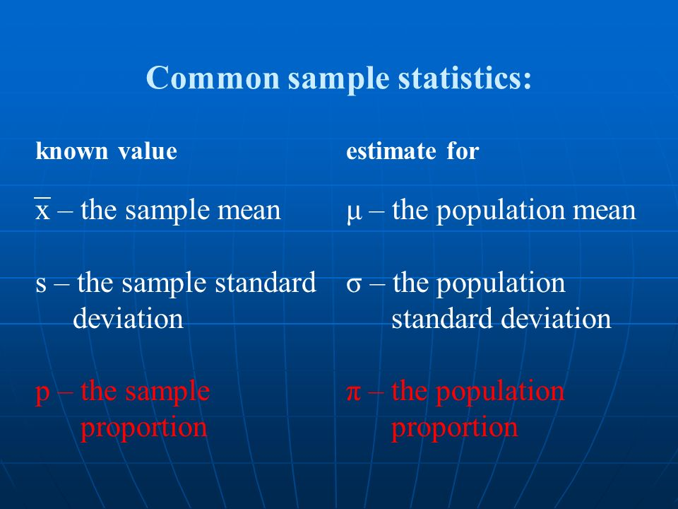 x – the sample mean s – the sample standard deviation p – the sample proportion Common sample statistics: μ – the population mean σ – the population s