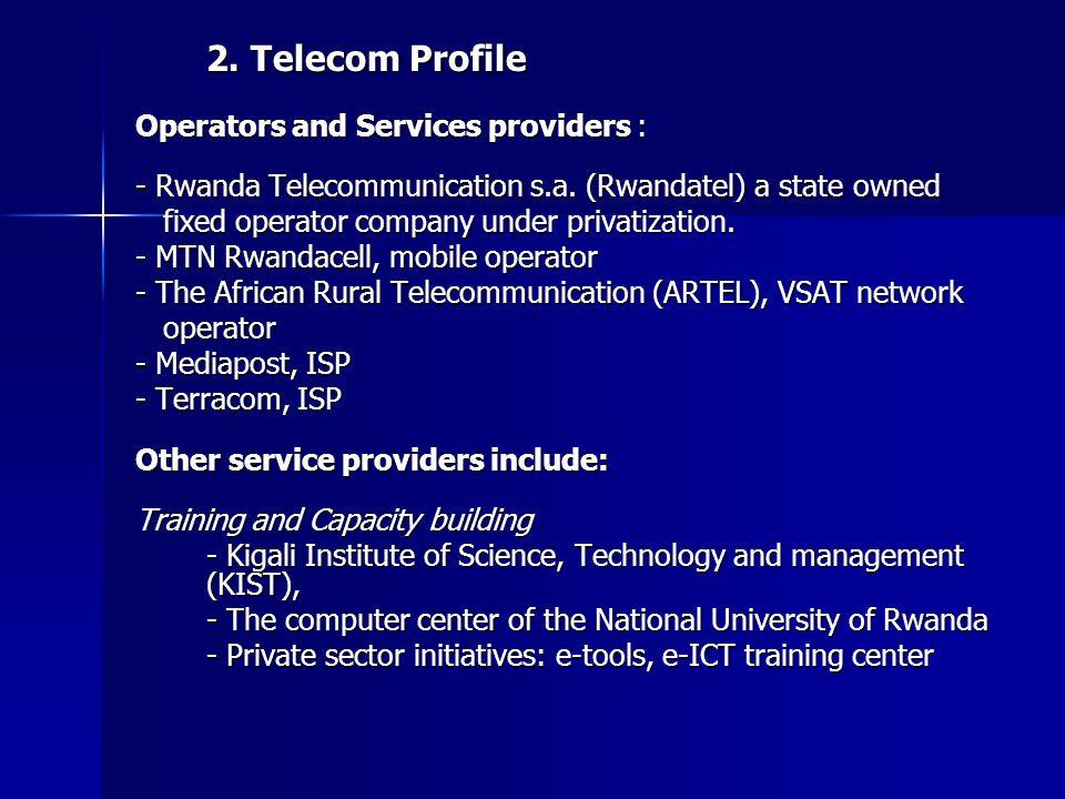 2. Telecom Profile Operators and Services providers : - Rwanda Telecommunication s.a.