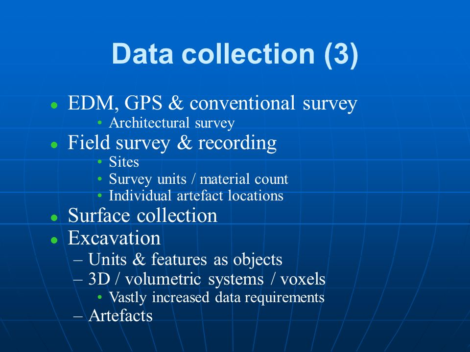 Data collection (2) l Map digitising l Considerations: Accuracy, costs, heads-up/down Projection, geodetic system, topology Topographic / projected Plans / unprojected Historical maps & plans