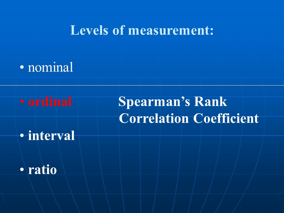 nominal ordinal Spearmans Rank Correlation Coefficient interval ratio Levels of measurement: