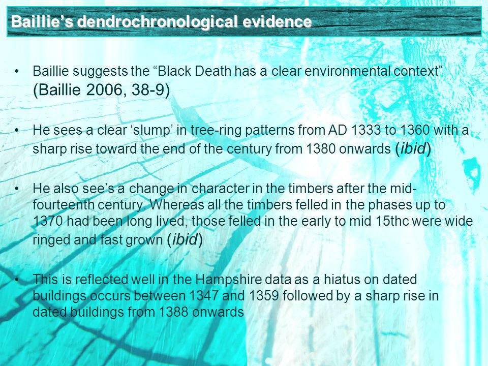 Baillies dendrochronological evidence Baillie suggests the Black Death has a clear environmental context (Baillie 2006, 38-9) He sees a clear slump in tree-ring patterns from AD 1333 to 1360 with a sharp rise toward the end of the century from 1380 onwards (ibid) He also sees a change in character in the timbers after the mid- fourteenth century.