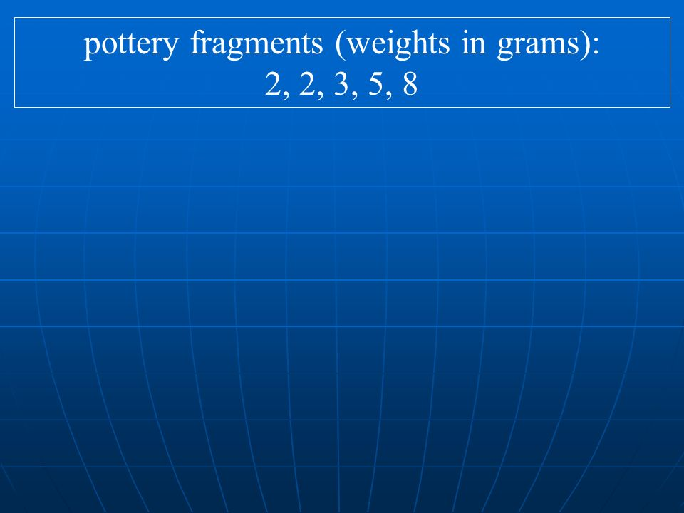 pottery fragments (weights in grams): 2, 2, 3, 5, 8