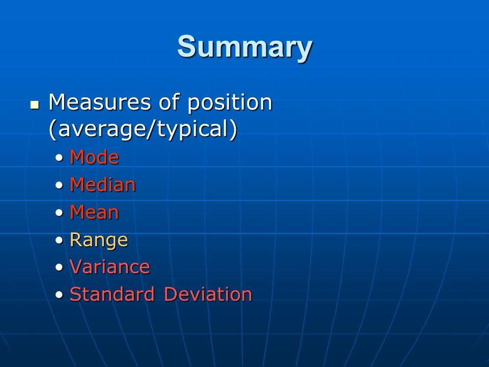 Summary Measures of position (average/typical) Measures of position (average/typical) ModeMode MedianMedian MeanMean RangeRange VarianceVariance Stand