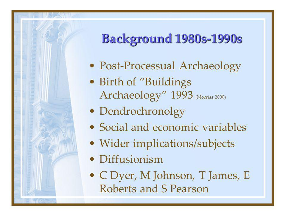 Background 1980s-1990s Post-Processual Archaeology Birth of Buildings Archaeology 1993 (Morriss 2000) Dendrochronolgy Social and economic variables Wider implications/subjects Diffusionism C Dyer, M Johnson, T James, E Roberts and S Pearson