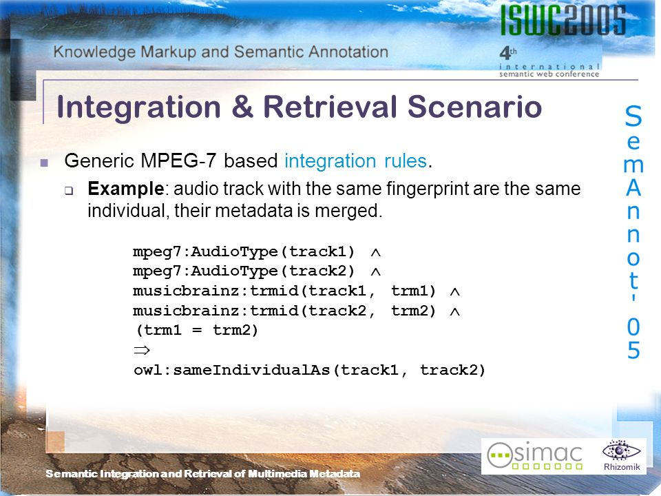 Semantic Integration and Retrieval of Multimedia Metadata Rhizomik Integration & Retrieval Scenario Generic MPEG-7 based integration rules.