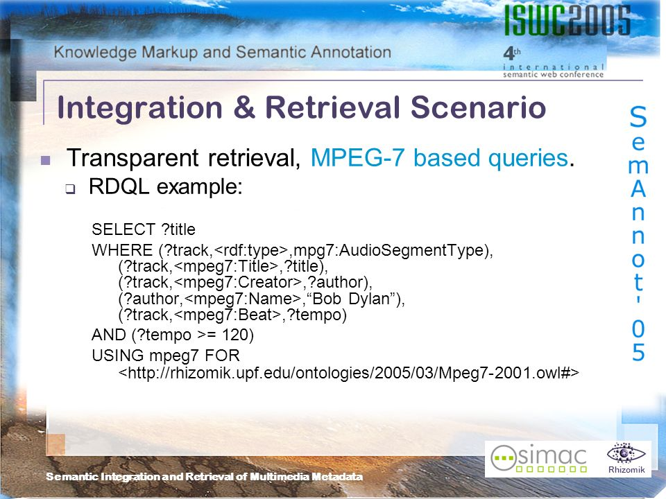 Semantic Integration and Retrieval of Multimedia Metadata Rhizomik Integration & Retrieval Scenario Transparent retrieval, MPEG-7 based queries.