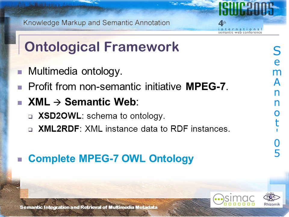 Semantic Integration and Retrieval of Multimedia Metadata Rhizomik Ontological Framework Multimedia ontology.