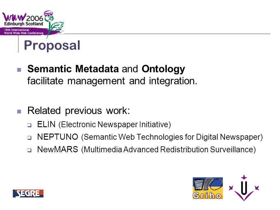 Semantic Integration and Retrieval of Multimedia Metadata Proposal Semantic Metadata and Ontology facilitate management and integration.