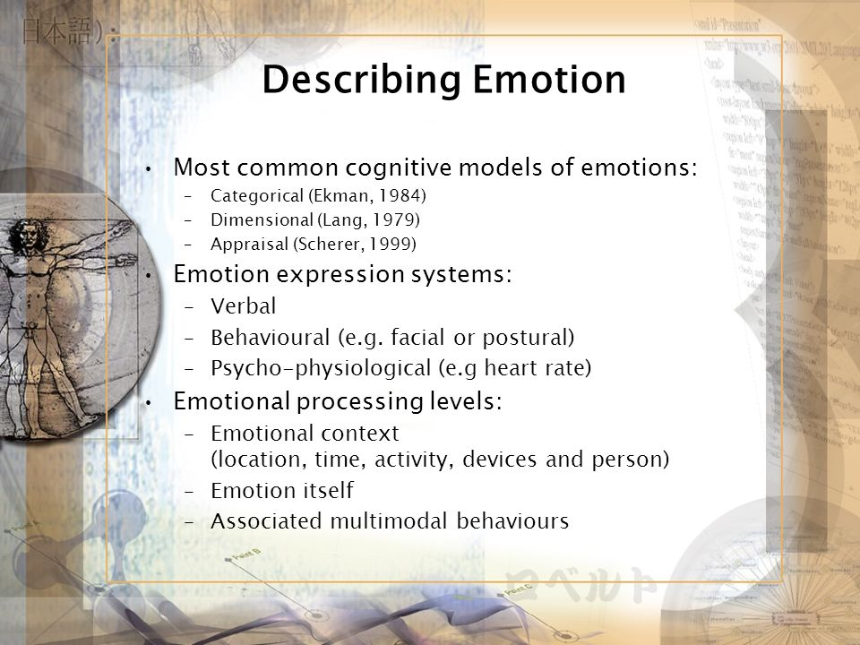 Describing Emotion Most common cognitive models of emotions: –Categorical (Ekman, 1984) –Dimensional (Lang, 1979) –Appraisal (Scherer, 1999) Emotion expression systems: –Verbal –Behavioural (e.g.