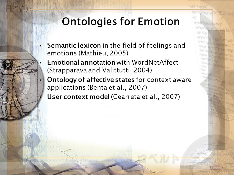 Ontologies for Emotion Semantic lexicon in the field of feelings and emotions (Mathieu, 2005) Emotional annotation with WordNetAffect (Strapparava and Valittutti, 2004) Ontology of affective states for context aware applications (Benta et al., 2007) User context model (Cearreta et al., 2007)