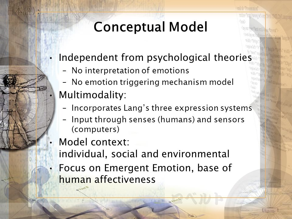 Conceptual Model Independent from psychological theories –No interpretation of emotions –No emotion triggering mechanism model Multimodality: –Incorporates Langs three expression systems –Input through senses (humans) and sensors (computers) Model context: individual, social and environmental Focus on Emergent Emotion, base of human affectiveness