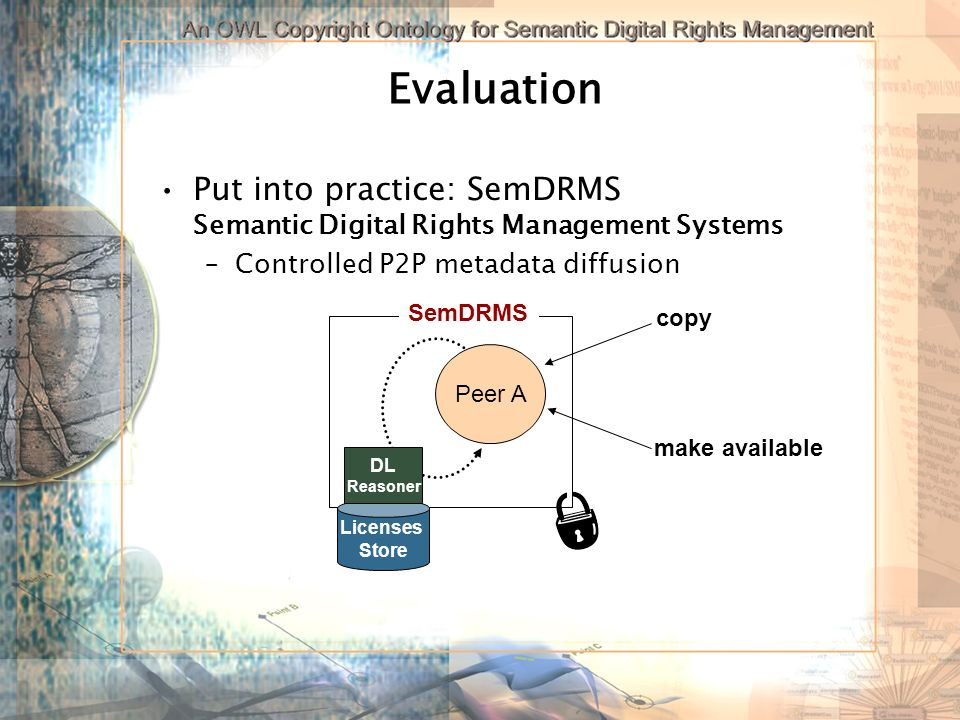 Evaluation Put into practice: SemDRMS Semantic Digital Rights Management Systems –Controlled P2P metadata diffusion Peer A SemDRMS copy make available Licenses Store DL Reasoner